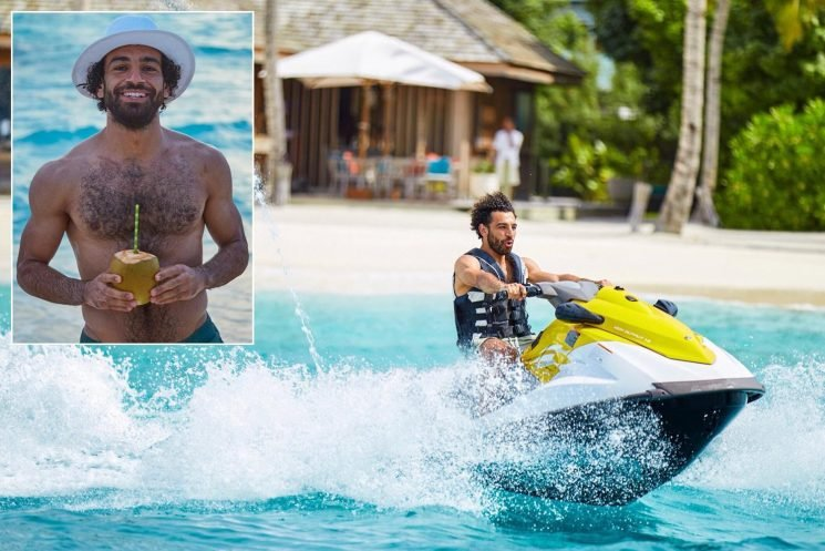 Liverpool star Mo Salah relaxes on a jet ski as he enjoys holiday after Egypt's World Cup exit