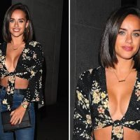 Georgia May Foote shows off cleavage in knotted floral shirt during night out in London