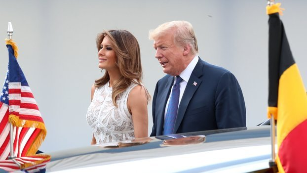 Melania Trump Takes NATO in a Sheer White Elie Saab Dress