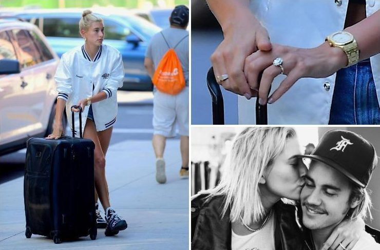 Hailey Baldwin flashes her huge diamond engagement ring as she jets back to New York with new fiance Justin Bieber