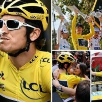 Tour de France: Welshman Geraint Thomas celebrates Yellow Jersey win with champagne – before nearly forgetting to thank his wife