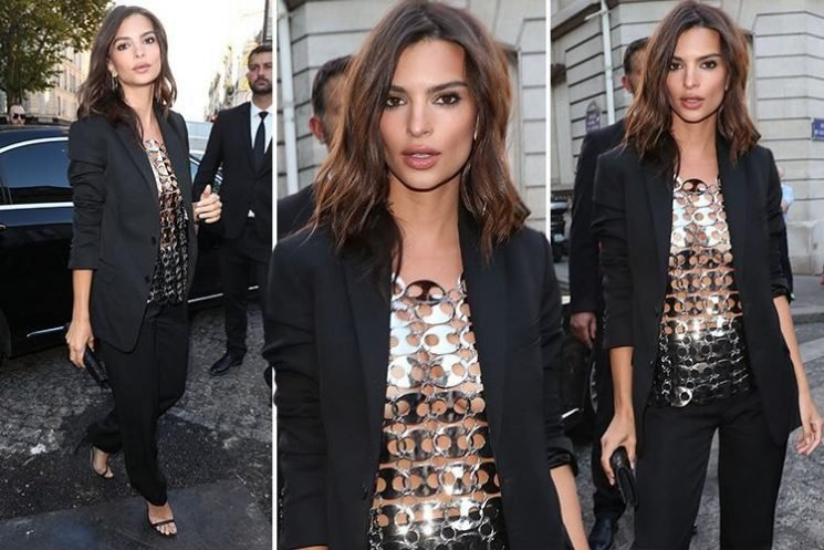 Emily Ratajkowski wears a completely see-through chainmail top as she parties with the fashion pack at Vogue bash in Paris