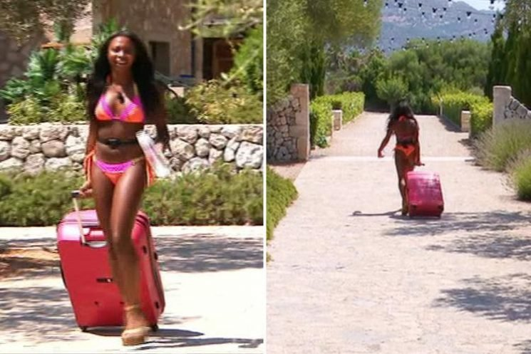 Love Island fans baffled as Samira leaves villa wearing just her bikini pulling a suitcase