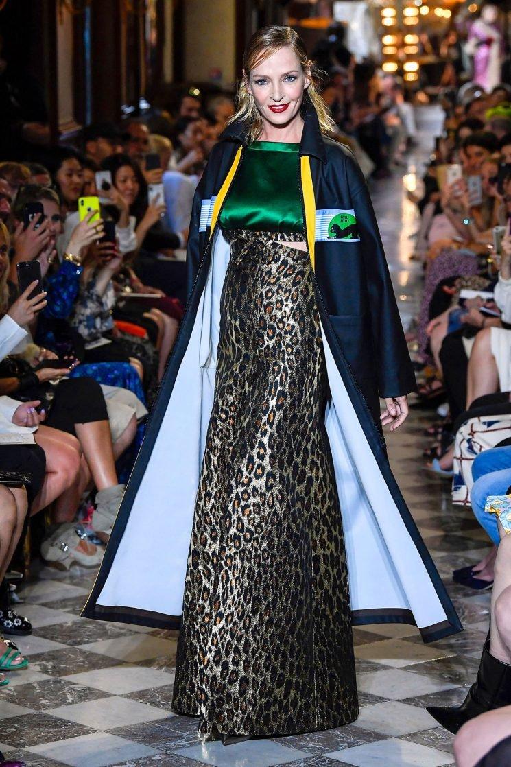Uma Thurman, 48, Walks the Runway at Miu Miu's Resort 2019 Fashion Show