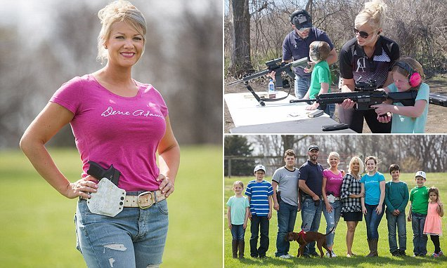 Mother is teaching her seven children as young as FIVE to shoot