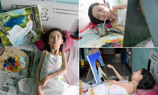 Paralysed Chinese woman bedbound for 32 years now an inspiring painter