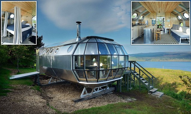 Stay in an aeroplane-inspired aluminium capsule on the Scottish coast
