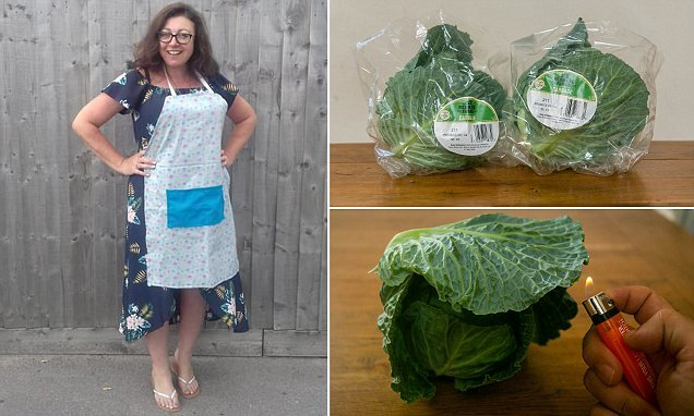 Shopper sets FIRE to her cabbage after believing it to contain plastic