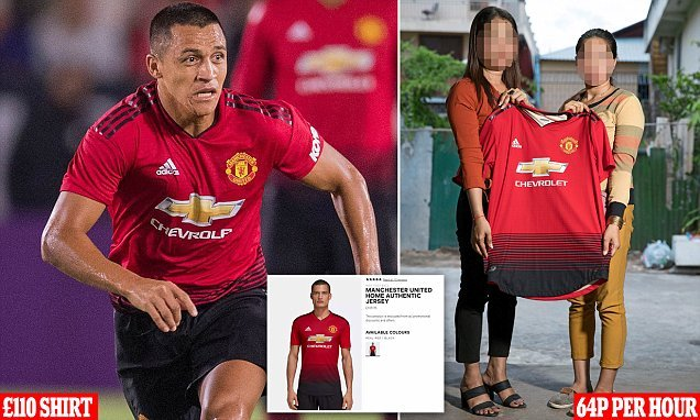 Man United's £110 jersey is made by workers paid just 64p per hour