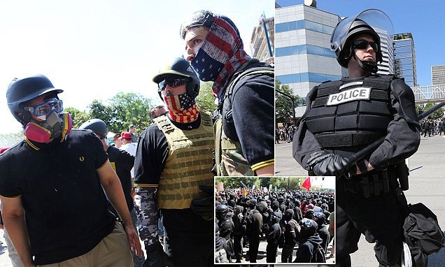 Far-right and antifa groups clash at Portland rally