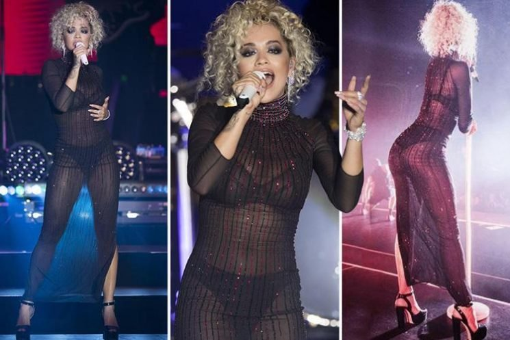 Rita Ora wows fans in completely see-through dress as she performs onstage in Monaco