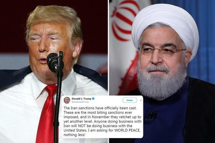 Donald Trump boasts of hitting Iran with 'most biting sanctions ever' after president Hassan Rouhani blasts 'psychological warfare'