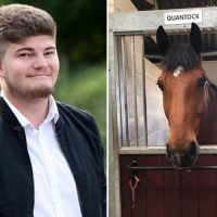 Smirking yob 'punched police horse in the head during booze-fuelled fracas following England's World Cup semi final defeat'