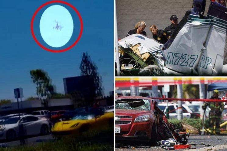 Horror moment plane crashes into shopping centre car park killing five in California