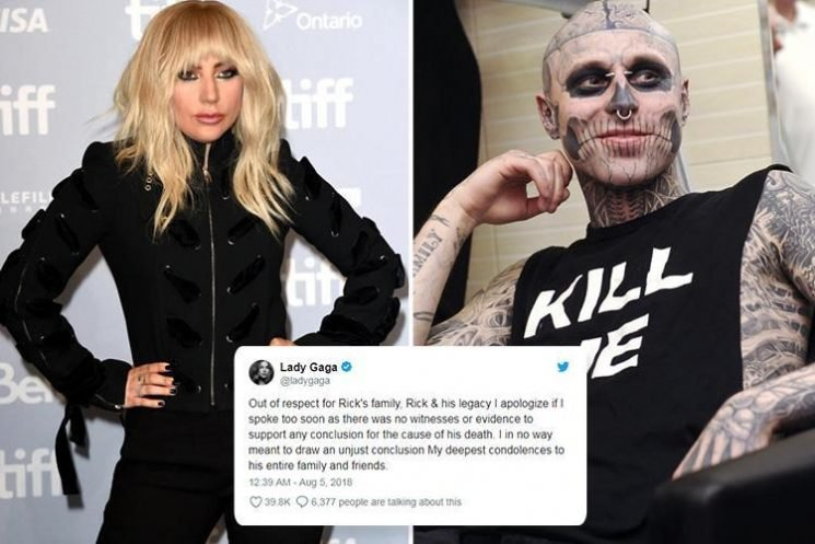 Lady Gaga apologises for speculating over Zombie Boy's death as his family claim it was an accident