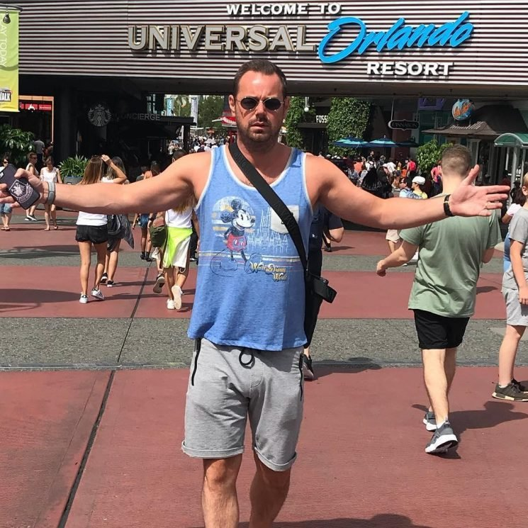 Danny Dyer's fans can't stop staring at his 'massive package' as he shares holiday snaps from Florida theme park