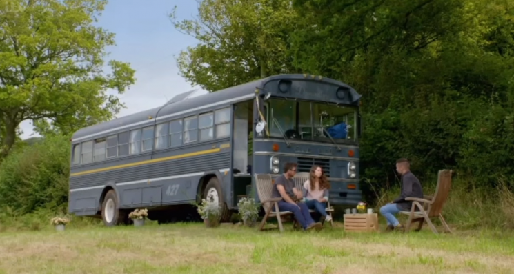 Thrifty couple transform American bus into cosy house in ITV show My £10K Holiday Home