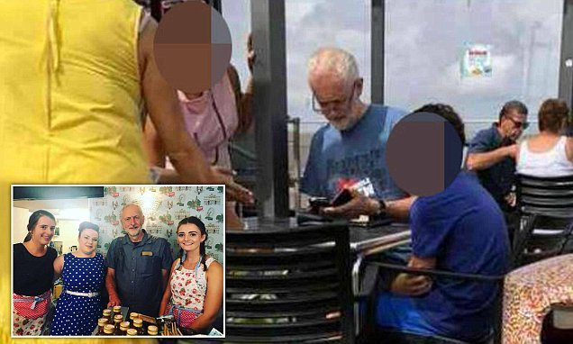 Labour leader Corbyn enjoys lunch on his family holiday in Somerset