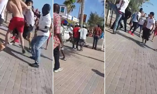 Woman screams in panic as German tourists fight with doormen