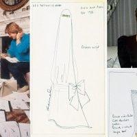 Sketches of Princess Diana's dresses for Gulf Tour – including a burka