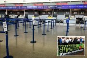 Biggest day of Ryanair strikes sees empty check-in desks and grounded planes across Europe - with 396 flights cancelled