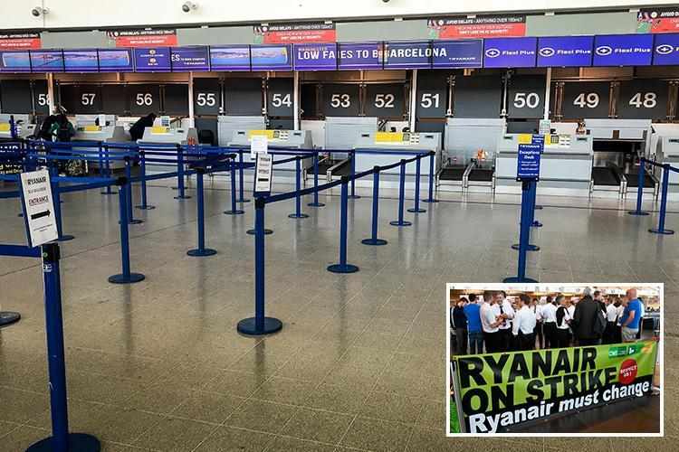 Biggest day of Ryanair strikes sees empty check-in desks and grounded planes across Europe – with 396 flights cancelled