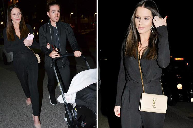 Helen Flanagan enjoys a night out with one-month-old daughter Delilah at restaurant bash