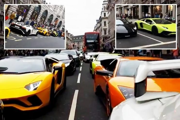 Dozens of supercars bring London's West End to a standstill as Middle Eastern billionaires roll into town