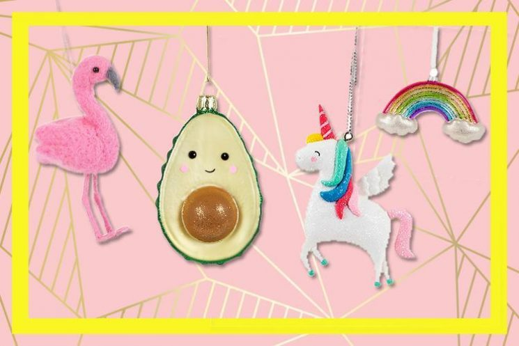 It may be August but you can already get unicorn, flamingo and rainbow Christmas ornaments