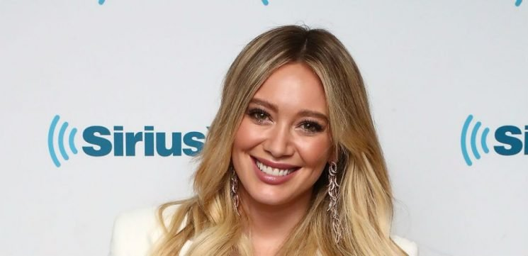 Hilary Duff Shows Off Baby Bump In White Nightie