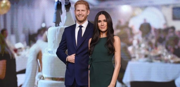 Prince Harry And Meghan Markle Wax Figures Spend The Day Out And About In London