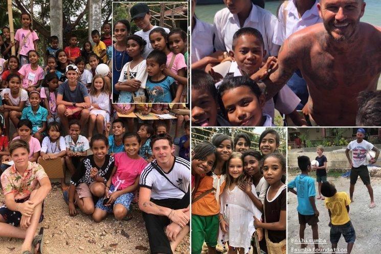 David Beckham teaches football to Indonesian children on island of Sumba