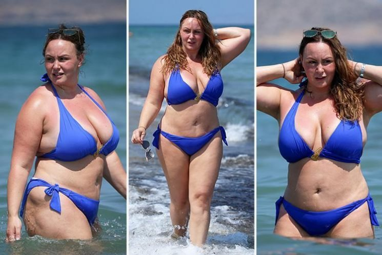 Chanelle Hayes soaks up the sun in a bikini as she hits the beach in Spain