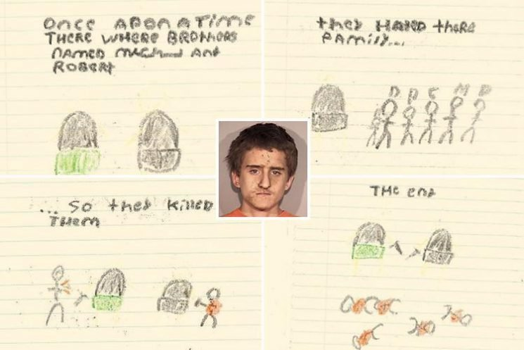 Teen killer drew twisted murder fantasy doodles in his prison cell after butchering his family – as new arrest photos show him soaked in blood