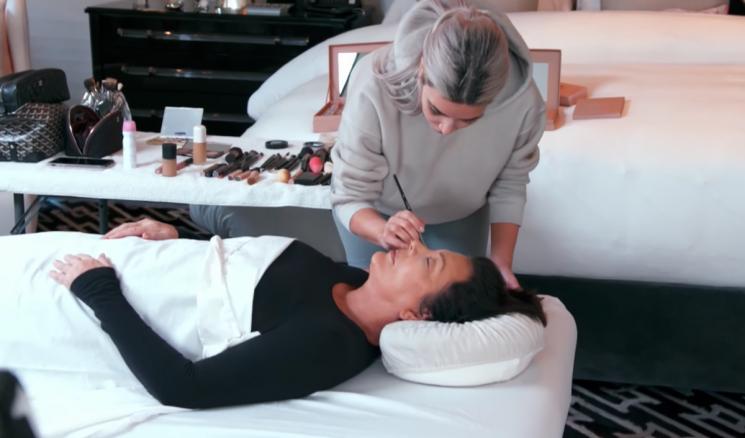 This Video Of Kim Kardashian Doing Kris Jenner's Funeral Makeup Is Morbid AF