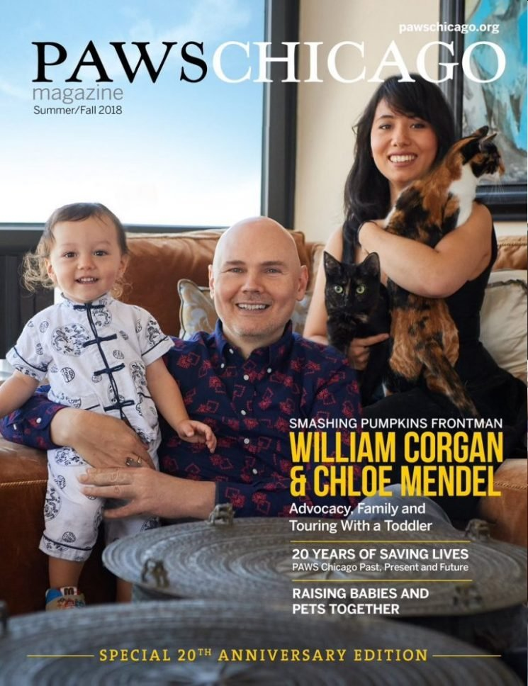 Billy Corgan appears on another Paws Chicago cover with his cats (and his son)