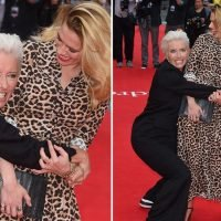 Emma Thompson rugby tackles Hayley Atwell at The Children Act premiere in London