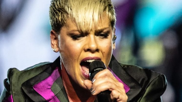 'I'm not contagious, I promise': Pink raises the roof in first show