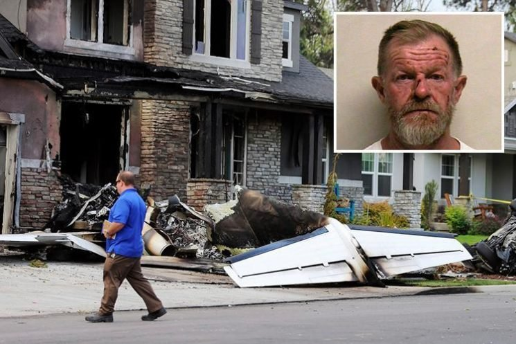 Husband dies crashing plane into his own house in apparent bid to kill wife hours after being released from jail for attacking her
