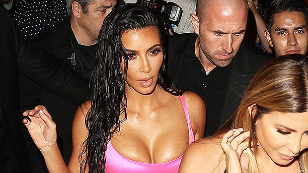 Kim Kardashian Flaunts Curves & Major Cleavage In Skintight Pink Dress For Kylie's 21st