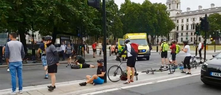 Chilling video shows cyclists lying injured in the street after Parliament crash