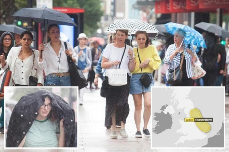 UK weather sees Brits take cover country is lashed with thundery downpours – but sun WILL return after the rain