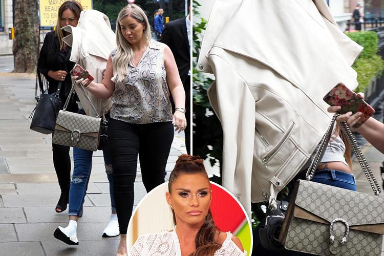Skint Katie Price wears £500 Balenciaga trainers and Gucci handbag amid financial crisis during rainy day in London