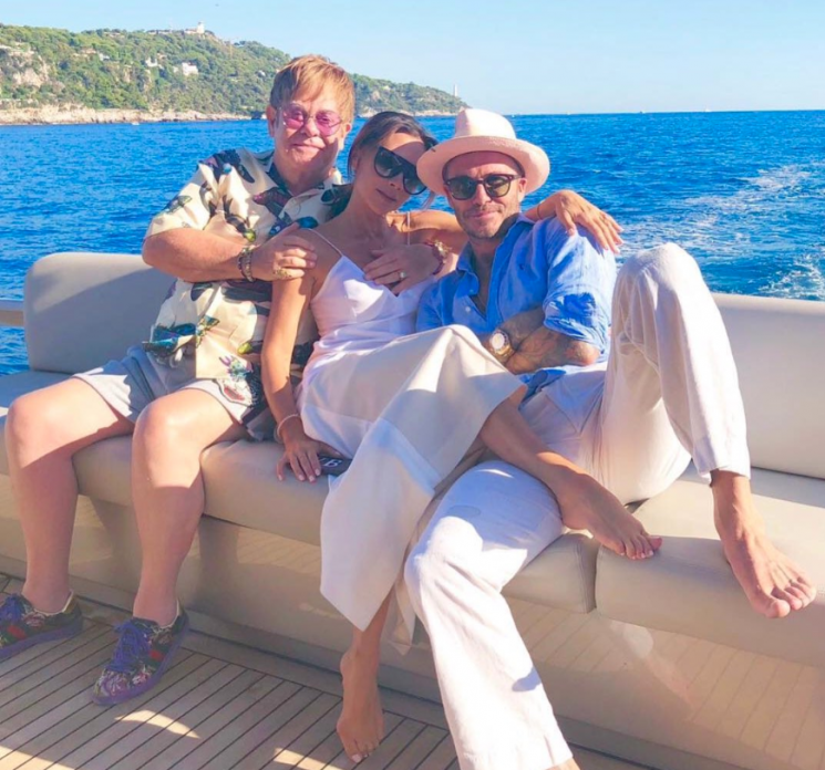 David and Victoria Beckham's Yacht Vacation Crashed by 'Uncle Elton' John: 'We Love You'