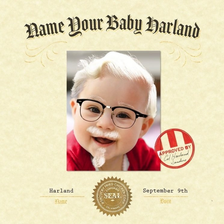 KFC contest aims to give $11,000 to parents who name their newborn 'Harland'