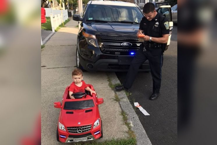 Police pull over tot driving car, let him off with 'cuteness warning'