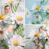 Daisy Lowe's vanishing act she gets body painted to blend into daisy background