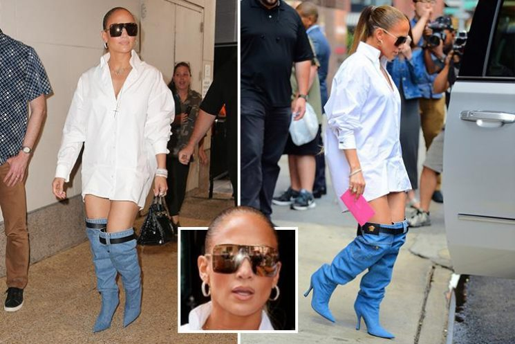Jennifer Lopez wears denim boots that look like pair of pulled-down jeans at the MTV offices in New York