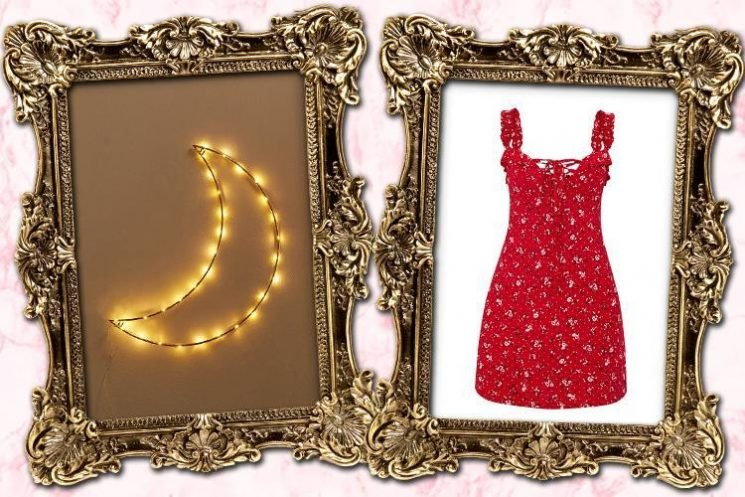 A crescent moon light and a red floral dress… here's what we're lusting after today