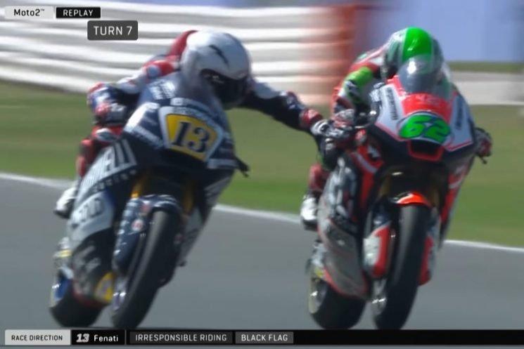 Motorcycle racer grabs rival's brake at 140 mph